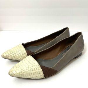 Tory Burch Gray Cream Snake Skin Leather Flats